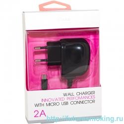 Сетевой адаптер 220V -> Brera Classic 2А + кабель microUSB Черный