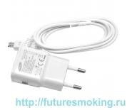 Сетевой адаптер 220V -> Samsung + кабель microUSB белый