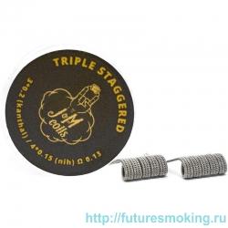 Спирали JM Coils 2 шт Triple Staggereed Coils 0.13 Ом (3*0.2Kanthal/4*0.15 Nih)